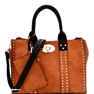 60345B Turn-Lock Studded 3 in 1 Tote Bag Brown/Black