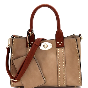 60345C Turn-Lock Studded 3 in 1 Tote Bag Sand/Brown