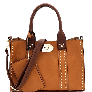 60345C Turn-Lock Studded 3 in 1 Tote Bag Tan/Coffee
