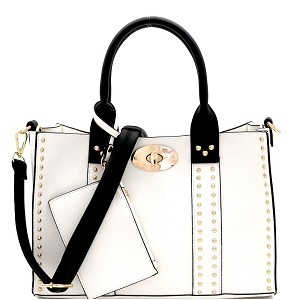 60345C Turn-Lock Studded 3 in 1 Tote Bag White/Black