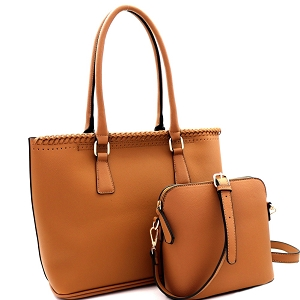 AS3220 Whipstitched Laser-Cut 2 in 1 Tote Messenger Value SET Camel