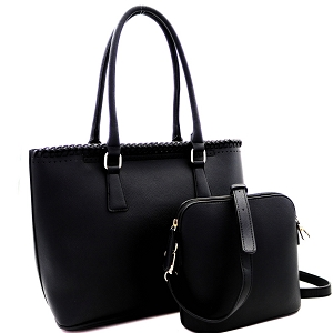 AS3220 Whipstitched Laser-Cut 2 in 1 Tote Messenger Value SET Black