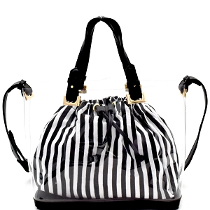 B23T Pinstriped Drawstring Inner Bag 2 in 1 Transparent Clear Satchel Black