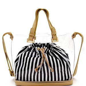 B23T Pinstriped Drawstring Inner Bag 2 in 1 Transparent Clear Satchel Apricot