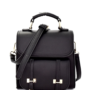 BS2246 Buckle Accent Convertible Flap Backpack Satchel Black