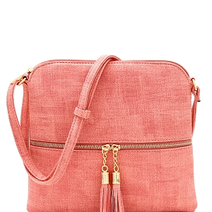 BS2309F Front Pocket Tassel Accent Textured Cross Body Pink