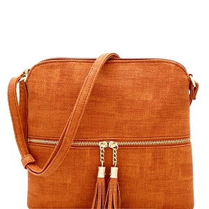 BS2309F Front Pocket Tassel Accent Textured Cross Body Cognac