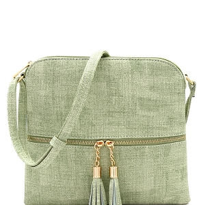 BS2309F Front Pocket Tassel Accent Textured Cross Body Green
