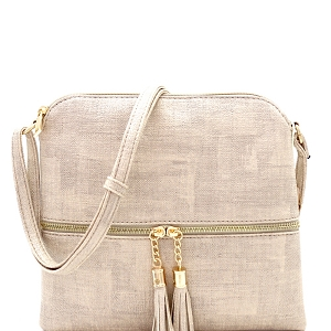 BS2309F Front Pocket Tassel Accent Textured Cross Body Beige