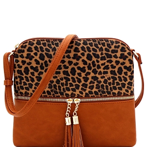 BS2309G Leopard Print Front Pocket Tassel Accent Cross Body Brown