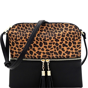 BS2309G Leopard Print Front Pocket Tassel Accent Cross Body Black
