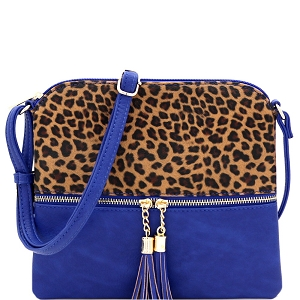 BS2309G Leopard Print Front Pocket Tassel Accent Cross Body Royal-Blue