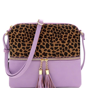 BS2309G Leopard Print Front Pocket Tassel Accent Cross Body Lilac