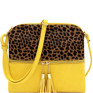 BS2309G Leopard Print Front Pocket Tassel Accent Cross Body Yellow