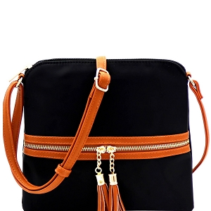 BS2408 Double Tassel Accent Two-Tone Nylon Cross Body Black/Brown