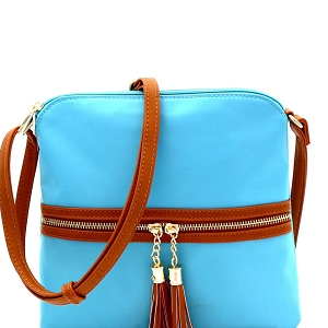 BS2408 Double Tassel Accent Two-Tone Nylon Cross Body Sky-Blue/Brown