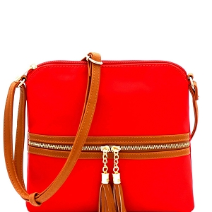 BS2408 Double Tassel Accent Two-Tone Nylon Cross Body Red/Brown