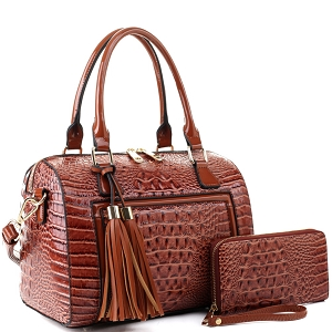 BS3423A Tassel Accent Crocodile Patent Detail Boston Satchel Wallet SET Brown
