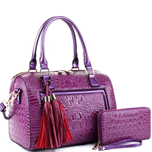 BS3423A Tassel Accent Crocodile Patent Detail Boston Satchel Wallet SET Purple