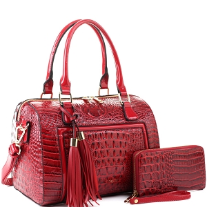 BS3423A Tassel Accent Crocodile Patent Detail Boston Satchel Wallet SET Wine