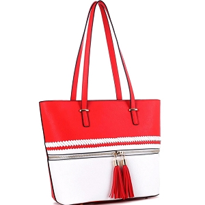 BS3429 Tassel Accent Braid Detail Color Block Shopper Tote Red/White