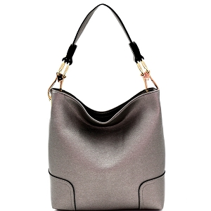 BW1348B Large Side Ring Snap Hook Classic Hobo Pewter