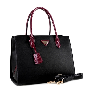 BW3493 Triangular Logo Two-Tone 2-Way Structured Satchel Black