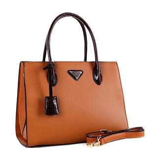 BW3493 Triangular Logo Two-Tone 2-Way Structured Satchel Light-Brown