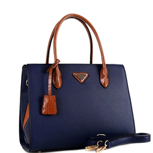BW3493 Triangular Logo Two-Tone 2-Way Structured Satchel Navy