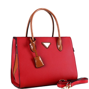 BW3493 Triangular Logo Two-Tone 2-Way Structured Satchel Red