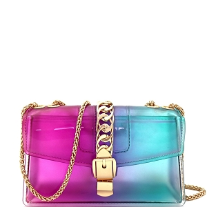 CW9043 Chain Accent Gradated Multi-colored Jelly Medium Flap 2-Way Shoulder Bag Purple/Green