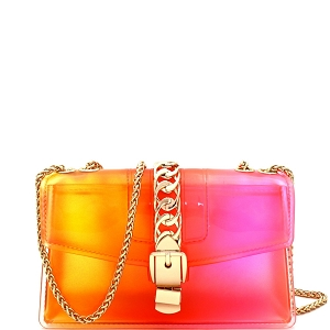 CW9043 Chain Accent Gradated Multi-colored Jelly Medium Flap 2-Way Shoulder Bag Yellow/Red