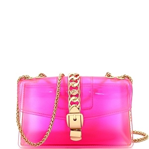 CW9043 Chain Accent Gradated Multi-colored Jelly Medium Flap 2-Way Shoulder Bag Peach