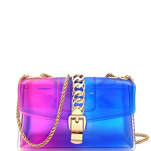 CW9043 Chain Accent Gradated Multi-colored Jelly Medium Flap 2-Way Shoulder Bag Purple/Blue