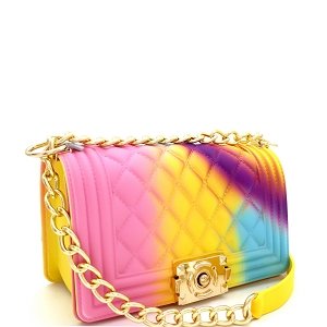 CW9067 Multicolored Embossed Jelly 2-Way Pinch-Lock Small-Medium Shoulder Bag Multi-C