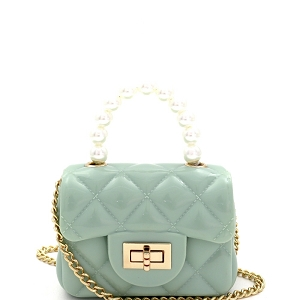 CW9073 Pearl Handle Quilted Effect Turn-Lock Jelly Micro Mini Cross Body Light-Green
