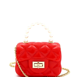 CW9073 Pearl Handle Quilted Effect Turn-Lock Jelly Micro Mini Cross Body Red