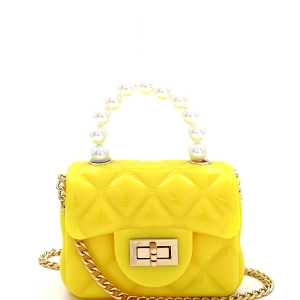 CW9073 Pearl Handle Quilted Effect Turn-Lock Jelly Micro Mini Cross Body Yellow