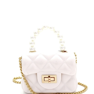 CW9073 Pearl Handle Quilted Effect Turn-Lock Jelly Micro Mini Cross Body White