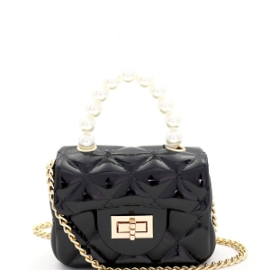 CW9073 Pearl Handle Quilted Effect Turn-Lock Jelly Micro Mini Cross Body Black