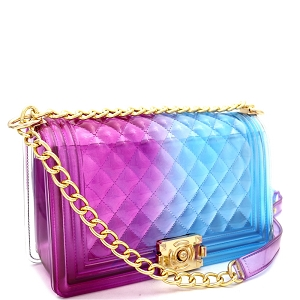 CW9338 Translucent Embossed Jelly 2-Way Pinch-Lock Medium Shoulder Bag Purple/Blue