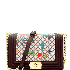 EG2127 Flower Bird Print Flap Chain Shoulder Bag Coffee