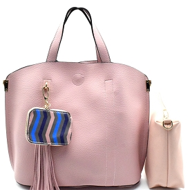 ES1004 Tassel and Colorful Coin Purse Accent 2 in 1 Tote Pink
