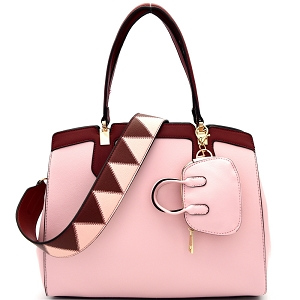 ES1222 Color Block Strap Mini Bag Keychain Satchel Pink/Wine