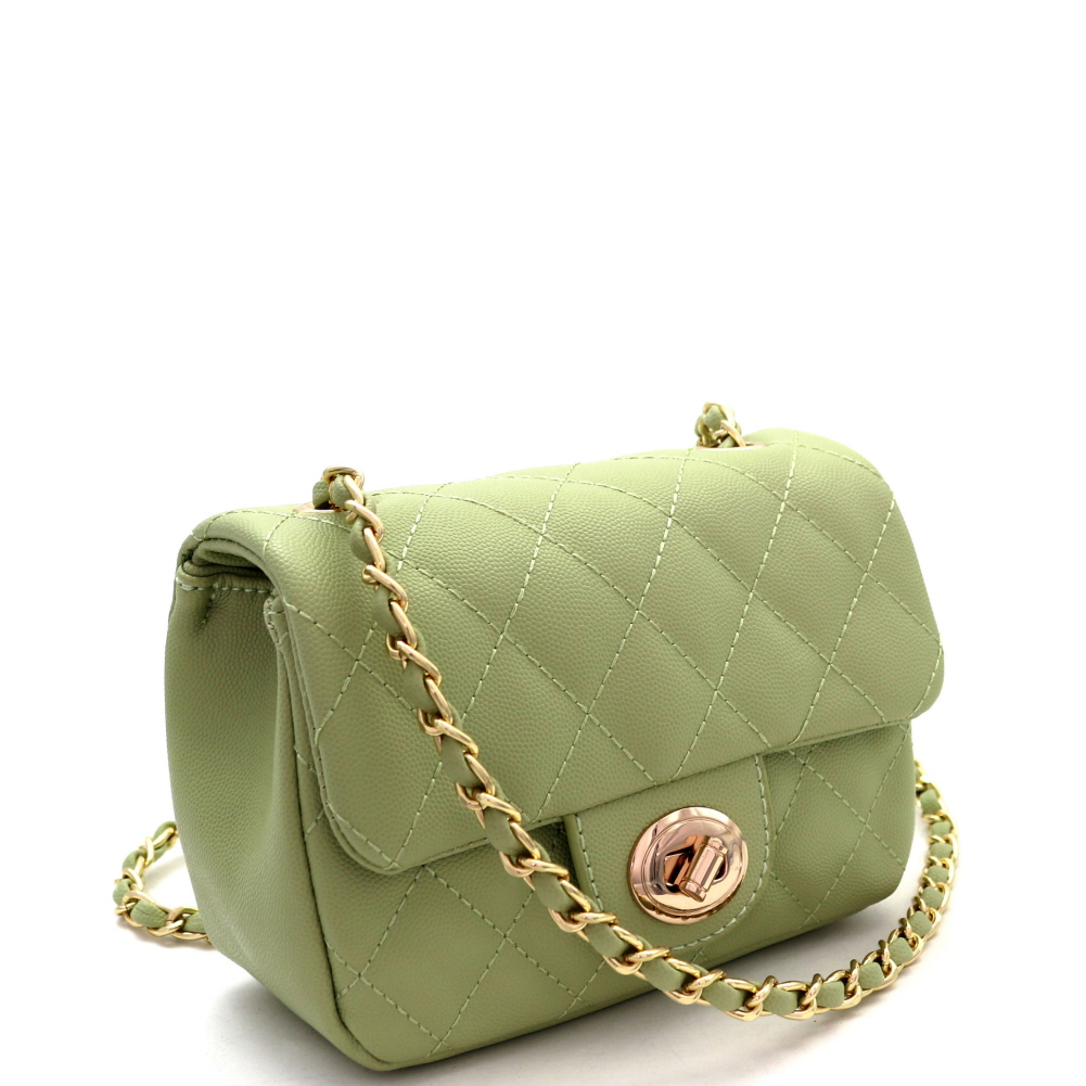 Green Croc Printed Gold Chains Shoulder Bags for $92.99