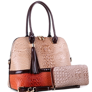 ES3087A Color Block Crocodile Dome Satchel Wallet SET Beige/Orange