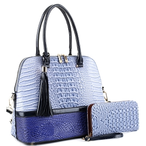ES3087A Color Block Crocodile Dome Satchel Wallet SET Blue/R.Blue