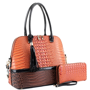 ES3087A Color Block Crocodile Dome Satchel Wallet SET Orange/Dark-Coffee
