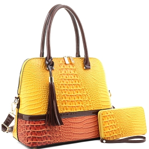 ES3087A Color Block Crocodile Dome Satchel Wallet SET Yellow/Orange