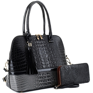 ES3087A Color Block Crocodile Dome Satchel Wallet SET Black/Dark-Gray